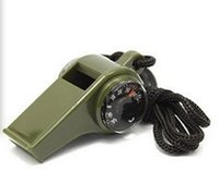 Wholesale 500pcs in1 Emergency Whistle Survival Tool Camping Sports Hiking Whistles With Compass Thermometer Army Green free shippiing