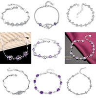 Wholesale New Style Luxurious Austria Purple Crystal Diamond Link Chain Bracelet Sterling Silver Bracelet High Quality
