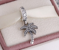 Wholesale Silver Thread Bracelet - pandora summer charms Silver Sparking Palm Tree Charm 925 ale sterling silver charms loose beads diy jewelry for thread bracelet FL676