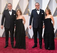 adam dresses - 88th Academy Awards Adam McKay Black Chiffon Red Carpet Celebrity Dresses Oscars Sexy Strapless Backless Plus Size Evening Prom Gowns