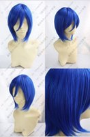 Cheap Free Shipping Fashion New Girl's Short Blue Straight Synthetic Hair Heat Resistant Fiber Cosplay Party Full Wig +Gift