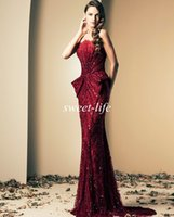 Wholesale Ziad Nakad Evening Dresses Vintage Burgundy Strapless Crystals Beads Floor Length Luxury Mermaid Celebrity Pageant Dresses Prom Gowns