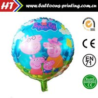 aluminum circular - 50pcs alumnum balloons Festival party supplies Hot inch circular aluminum foil helium balloon young girl from the family pig seal trade p