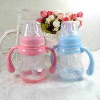 Wholesale 180ml High Quality Cute Baby Cup Kids Children Learn Feeding Drinking Water Straw Handle Bottle Baby Feeding Bottle