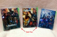 Wholesale The Avengers Super Heroes Book Notebook with a Pen Student Diary Iron Man Captain America Thor Hulk Notepad x7CM Kids Christmas Gifts