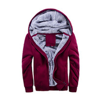 Wholesale Fall Mens Winter Thicken Warmth Sweatshirts Jackets Thick Velvet Hooded Zip Coats SZA