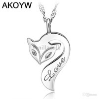 fire fox - S925 sterling silver necklace pendant the female Fire Fox Joker short clavicle silver jewelry fashion jewelry