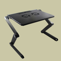Wholesale 2015 New Design T3 Aluminum Laptop PC Notebook Adjustable Folding Desk Stand Table Tray Heat Dissipation Fan for Bed Sofa Office