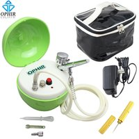 air compressor nozzles - OPHIR mm Nozzle Airbrush Kit with Apple shape Green Mini Air Compressor for Cosmetics Tattoo Nail Art_ AC051G