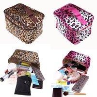 Wholesale 2015 Sexy Leopard Potted Women s Travel Handbag Makeup Organizer Lady Cosmetic Big Zip Bag Storage H10641