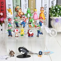 Wholesale DHL Set High Quality Super Mario Bros Action Figure keychain Luigi Princess Toad Yoshi PVC KeyChain