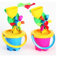 Wholesale Windmill large plastic bucket beach toys for children three piece suit children s toys Hot Item