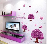 pvc manufacturers - Manufacturers romantic love stickers purple tree stickers PVC stickers television background Removable Wall Stickers