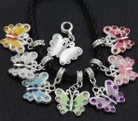 animal metal plates - 7Colors Silver Plated Enamel Rhinestone Butterfly Charm Beads Big Hole European Bead Fit Bracelets X22mm B1559