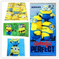 Wholesale Despicable Me Minions Towel Bables Baths Children Beach Towel Kids Cotton Terry Towels For Bathing Swim Shower Gym Free DHL Factory Direct