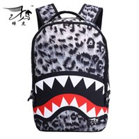 abs backpack sale - 2016 Men And Women Cool Shark Tooth Fish Bloody Designer Outdoor Shoulder Backpack Sports Bags School Bags On Sale