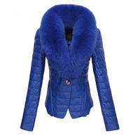 fur collar - 2014 Winter new arrival down coat women slim large fur collar medium long down coat female jacket