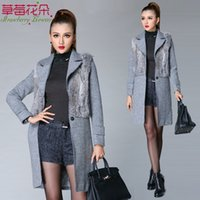 rabbit coat - Wool Blend Coat Woolen Overcoat Women Winter jacket Rabbit Fur Lapel Trench One Button Length Long Sleeve New CM4336