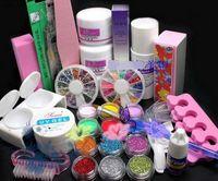 Wholesale UV GEL NAIL KIT amp glitter Powders Glues FILE BLOCKS gel Base coat extension nail form Primer clear white Tips kits Sets