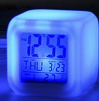 achat en gros de images d'horloge numérique-Réveil Horloges Home Decor Horloge Réveils LED Alarm Change Horloge numérique Nouveau thermomètre Nuit Rougeoyer Horloge Costom Image Colorful