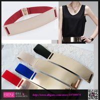Wholesale 2014 New Coming Multi Color Women s Waist Golden Band Mirror Metal U Shaped Elastic Belt High Quality Amazing Belt