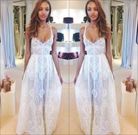 Cheap Summer Beach Wedding Dresses 2015 Spaghetti Straps Boho A Line Lace Wedding Dresses Backless Sheer Bridal Gown Long Prom Dresses New BO5800