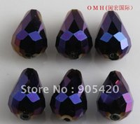 ab glass jewelry - OMH Free ship jewelry Chains BEAD purple AB drop glass crystal beads mm Sj72