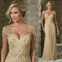 Wholesale Plus Size Formal Dresses Long New Mother Of The Bride Dress Half Sleeves Lace Appliques Sequins Beads Groom Mothers Wedding Party Gowns