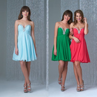 affordable homecoming dress - 2015 Cheap Short Homecoming Dresses Crystals Sweetheart Neckline Sleeveless Low Back Graduation Party Gowns Affordable Chiffon Formal Dress