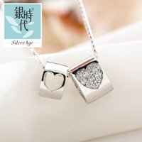 american monument - Silver era monuments stereo love heart necklace silver jewelry pendant female Korean fashion to send his girlfriend
