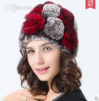Wholesale Casual Style Topshop high quality Handmade Knitted Warm winter Rex rabbit Fur hats caps Chrismas Women beanies rose flower