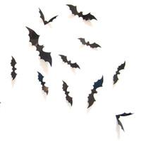bats live - Hot Selling Black PVC D Bat Wall Sticker Decal Decoration for Halloween Day Halloween Stereoscopic Bat Wall Mural