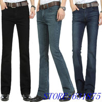 bell business - New Arrival High Quality Business Bell bottoms Jeans Men s mid waist elastic boot cut Jeans Flares Pants