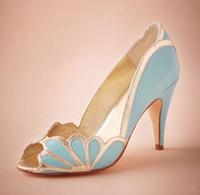 ankle pumps - Real Blue Wedding Shoes Vintage Bridal Isabella Scalloped Heel Kitten PU Peep Toe Custom Made Sandals Pumps Sexy Elegant Prom Shoes