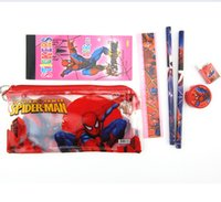 Wholesale AAA quality Spiderman mickey pooh princess kt school supplies kid girl award gift stationery set Small PVC pencil case set topB1483 sets