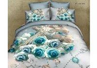 4 Pcs literie douillette Définit Reine Full Size Sheet 3D Floral Housse de couette Couvre Oreiller Shams Literie Lit dans un sac en coton 100%
