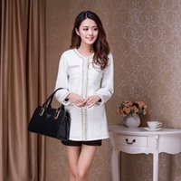 Cheap Autumn and winter Korean version of small fragrant wind ladies tweed wool handmade pearl coat and long sections woolen coat female