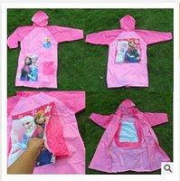 Wholesale Frozen Raincoat princess Elsa Anna Frozen Rain Gear Cartoon Girls Raincoat cartoon cloth baby girls raincoat frozenc1140