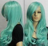 aqua hair color - Natural wave Long Aqua Blue Wavy Cosplay wom Kanekalon costum Hair Wig