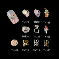 Cheap 10 Pcs Lot 3D Flowers Draft beer Rings Love Heart Clock Alloy Nail Art Decorations Glitter Rhinestones For Nails Tools TN311-320