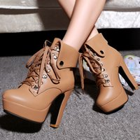 Cheap Cheap Women Lace Up Block High Heels Platform Shoes Winter Warm Ankle Boots New Warm Snow Boots