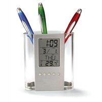 Wholesale 2015 hot LCD Digital Lndoor Temperature Meter Calendar Penholder Gauge Clock Vee