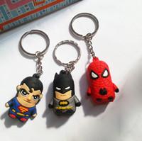 Wholesale 2015 New Superman Batman Spider Man cartoon anime keychains boy Keychain sided soft action figures toys for kids key chain