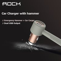 alloy adaptors - Rock PC Aluminum alloy Stainless steel Charger mobile adaptor Mobile Charger Dual Output USB A for iPhone for Samsung