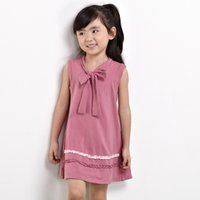 Wholesale Children School Clothes Vintage Kid Girls Dress Simple Design Summer Style High Quality For In Dark Fushia Coulor