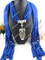Wholesale Fashion Attractive Solid Color Modern Women Necklace Scarves Owl Pendant Jewelry Tassels Scarf Shawl Wrap
