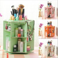 Wholesale 6 sides density board cosmetic organizer makeup storage box sundries display degree rotation carboard Europe and America