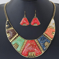 african types - Statement Vintage necklace Fashion Women Gold chain crystal geometric A type choker Necklaces Pendant Earrings jewelry set