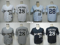 authentic brewers jerseys - 30 Teams Men s Milwaukee Brewers Jersey Prince Fielder baseball Jersey Blue Gray white authentic Stitched cool base baseball jerseys