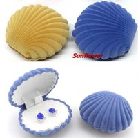Wholesale Shell Velvet Ear Stud Earring Display Box Jewelery Case Container Gift